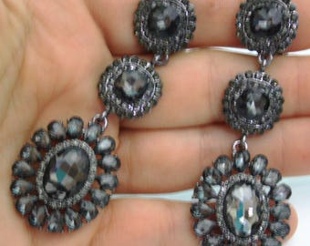 Rhinestone Clip On Chandelier Earrings Bridal Prom Pageant 2.9 inch Gray Drag