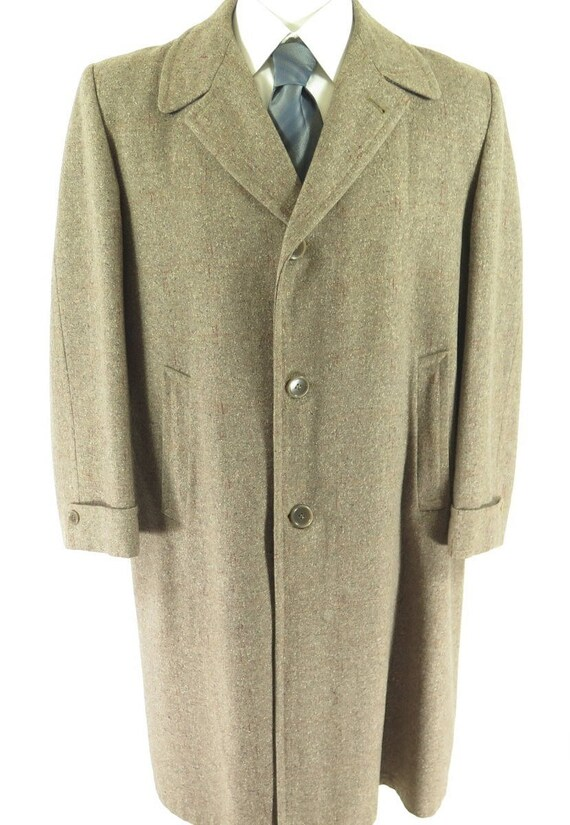 3 H17M 6 42 Vintage Overcoat Winchester 50s Wool Made Gray Fleck Long USA Mens Union Nubby BxTqx1