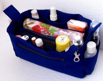 Purse organizer insert- Bag organizer in Royal Blue fabric