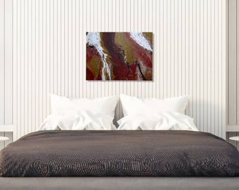 Red and Brown Abstract Fluid Original Painting - Painting on Canvas - Abstract Art - Original Painting On Canvas - Brown Fluid Artwork