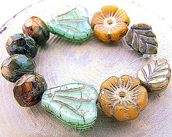 small price! beautiful assortment creative 10 premium - vintage antique patina forest mix Czech beads
