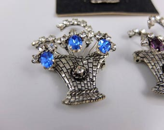 Vintage Flower Basket Brooch - Silver Tone Sparkly Brooch, Choice Of Colours, New Old Stock, Vintage Costume Jewellery