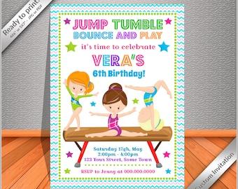 50% OFF SALE- Gymnastics Birthday Invitation, Pink Gymnastics Invitation - Printable Gymnastics Birthday Party Invites, Free thank you card!