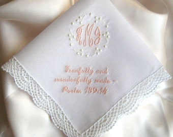 BAPTISM HANDKERCHIEF, Christening, Confirmation, Name, Monogram, Date, New Design Choices, White or Ivory, Baby Gift, Shell Lace Edge 12x12