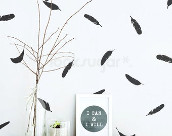 Feather Wall Decals. Modern Nursery Decal. Feather Wall Pattern Decals- Feather Decals - Feather Sticker - AP0037NF
