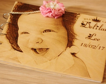 Photo Album, Personalized Wooden Photo Album,initial photo album baby, wood engraved book, album photo naissance.