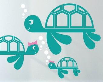 Sea Turtle Wall Decal Ocean Baby Underwater Nursery Turtle Theme Under the Sea Kids Room Decor