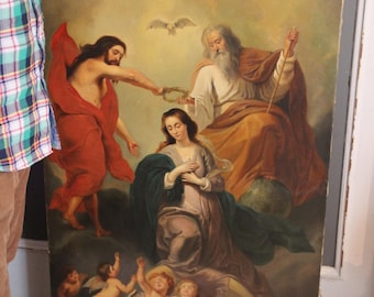 XXL Antique 19th c oil canvas painting religious church coronation mary top piece