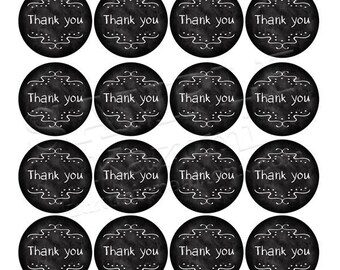 Printable Thank You Stickers - Circle Chalkboard 4.5cm, A4