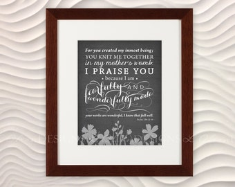 "Bible Verse ""Fearfully and Wonderfully Made"" Nursery Art -  8x10 - Charcoal - DIY Printable - INSTANT DOWNLOAD"