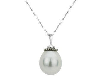 Women 14K White Gold Freshwater Cultured Tear Drop White Pearl Pendant Necklace(PFWTN11217WWG)