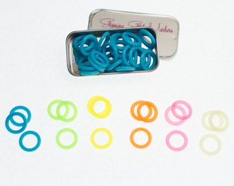 Medium Silicone Ring Stitch Markers Fits upto US 10.5 (7.0mm) - Set of 25, 50 or 100 in choice of 6 Colors