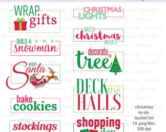 Holiday Bucket List - PNG Digital Clipart - Instant download - To-do List To Do List