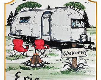 AIRSTREAM- Camping Sign- PERSONALIZED Hand Painted