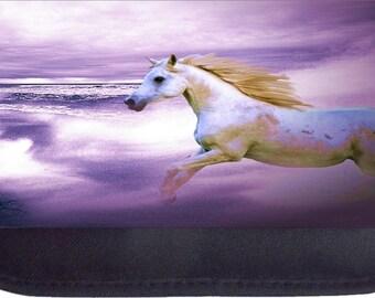 Horse in Purple Ocean Black Pencil Bag - Pencil Case
