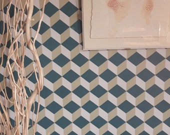 Vintage Cubic Wallpaper - Isometric Wallpaper- Vintage isometric Wallpaper