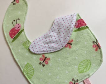 Flannel Baby Doll Bibs and Burp Cloths
