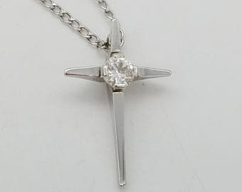 """Vintage Sterling Silver & CZ Cross on Matching Chain - 16"""""""