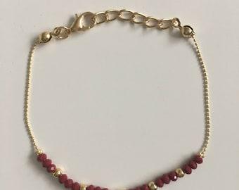 Gold Plated Hand of Hamsa Red Czech Beaded Handmade Bracelet