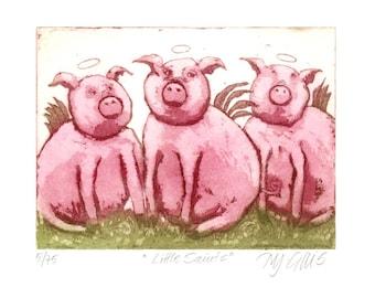 animal art print, Little Saints, pink pigs, farm animal print, humor art print, funny wall art, nursery art print, etching, printmaking