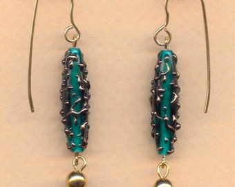 Drop Earrings in Green and Gold