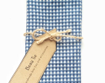 Mens pocket square, Gingham pocket square, cotton pocket square, mens handkerchief, blue pocket square