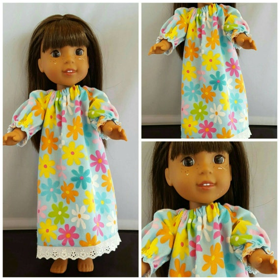 Flower Flanel Nightgown to fit Wellie Wisher Doll and Disney Toddler Doll