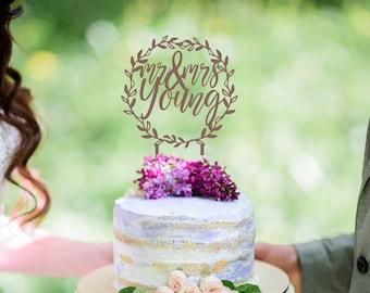 Wreath Cake topper, Mr & Mrs Wedding Cake Topper, Rose Gold Cake Toppers for weddings, Bridal Shower Cake Topper, Wedding Cake Toppers