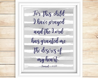 Grey and Navy Nursery Decor | For This Child I Prayed | Samuel 1:27