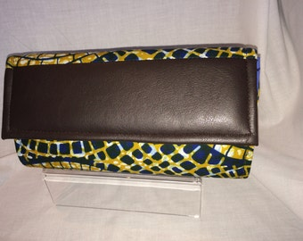African print  blue and yellow envelope clutch bag/ Pochette Africaine