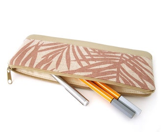 Small Pencil Case, Ferns, Rosewood, Beige, Faux Leather