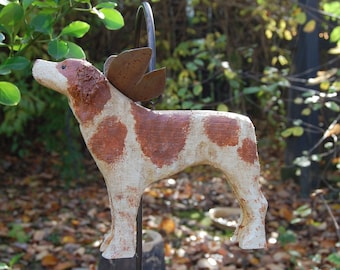 carved brittany spanielfor home or garden or memorial