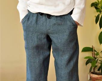 Denim blue-linen men's shorts.