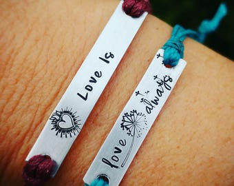 Set of 2-Personalized Hand stamped friendship bracelets, custom best friend/couples bracelets, Anniversary gift - Listing is for 2 bracelets
