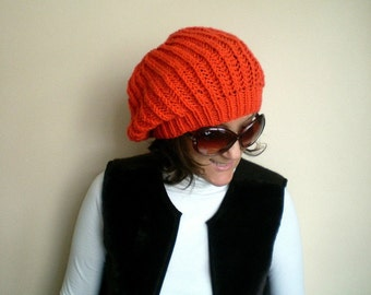 Orange Slouchy Hat, Womens Beanie, Winter Fashion