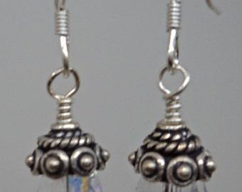 Sterling Silver and Crystal AB Swarovski Crystal dangle earrings