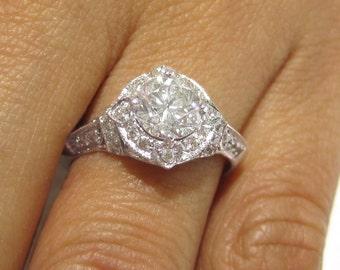 1.20ctw ROUND cut ANTIQUE STYLE diamond engagement ring 14k white gold