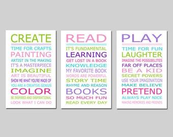 Playroom Rules PLAY READ CREATE Set - Kids Wall Art Trio - Set of Three 13x19 Nursery Art Prints - Choose Your Colors