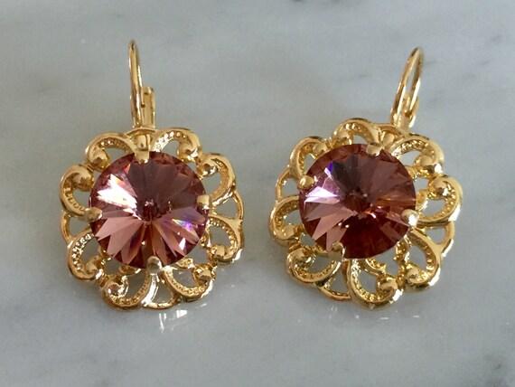 Blush Rose Swarovski Crystal Earrings, Yellow Gold