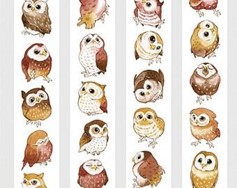Owl Washi Sampler,  Cute Animal Washi Sample, Bird, Collectible Masking Tape, Deco Tape