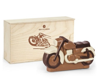 Father's Day_ Chocolate motorcycle_ Funny and unique gift for him or her  closed in wooden box   Handmade delicious chocolate
