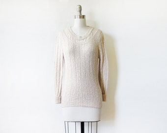 eyelet lace sweater, vintage 80s oatmeal cream pointelle sweater, pullover knit sweater, boho neutral minimalist jumper, extra small xs