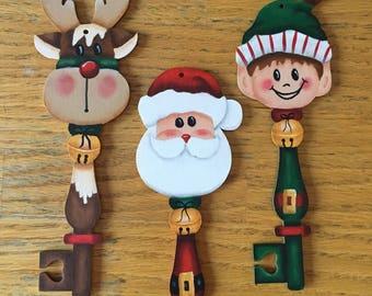Santa, Elf, Raindeer Ornaments