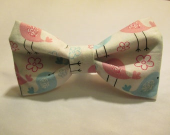 Nigel's *New* Baby Shower Bow Tie!  Cute Pink and Blue Birds - Is it a Girl or Boy?