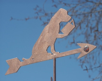 """Dog Reading and Book Bunny Weather Vane - Support Rod & NSEW finder Sold Separately. Check my """"Accessories"""" Listing."""