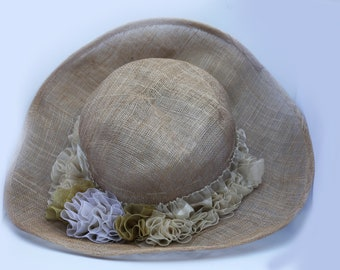 A Light Brown Weave Spring Summer Tea Hat ,Wedding Party Hat With Organza Fabric And Flowers Romantic Vintage Style