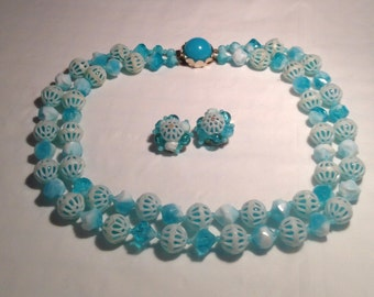 Vintage Robins Egg Blue Necklace and Clip Earrings