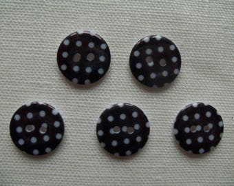 "Set of 5 resin ""Polka dots black"" sewing craft buttons"