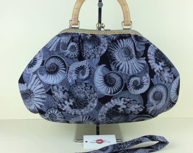 Handmade handbag purse kiss clasp Betty frame bag Ammonites Fossils