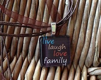 Live laugh love family charm necklace